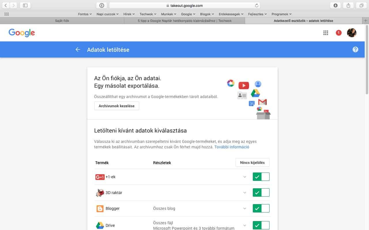 Címjegyzék, levelezés és fotók mentése Google fiókból a gépünkre | Techwok.hu