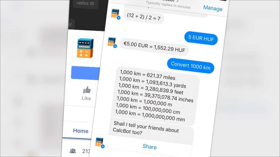 Számoljon a Messengerben: valutaárfolyamtól mértékegység váltásig