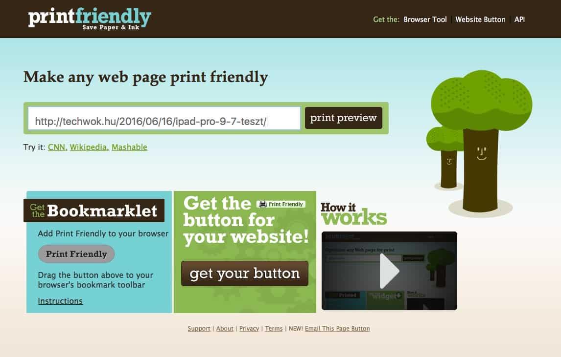 Weboldalak nyomtatása tintatakarékosan és környezetkímélőn | Techwok.hu