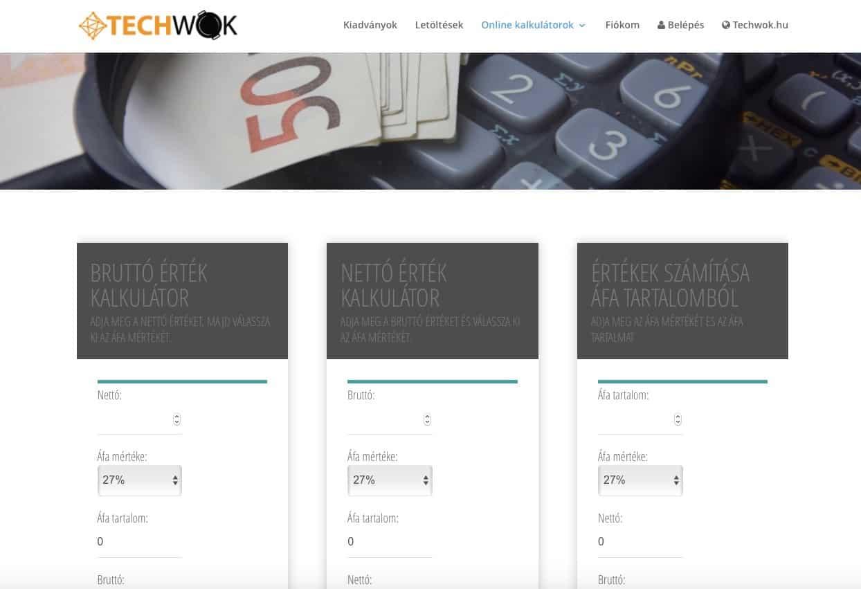 Újítottunk: ingyenes áfa kalkulátor, online | Techwok.hu