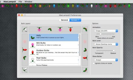 Karácsonyi égősor a macOS képernyőjére