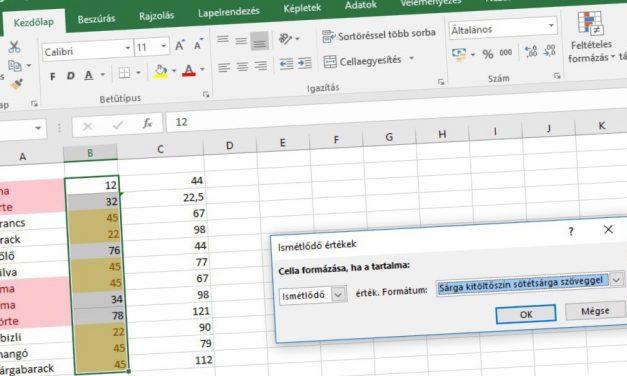 Hasonló tartalmak kiemelése Excelben
