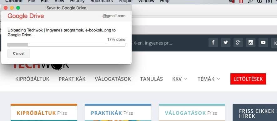 Weblapok fotózása és fájlok letöltése közvetlenül a Google Drive-ra | Techwok.hu