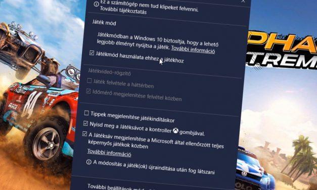 Windows 10 Játék üzemmód hozzárendelése adott játékokhoz