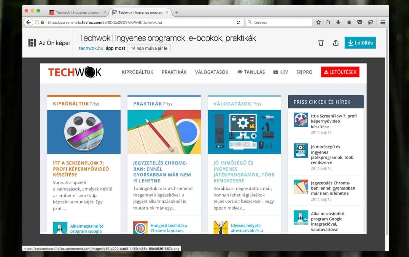 Teljes weboldalak fotózása Firefoxban, egyszerűen | Techwok.hu