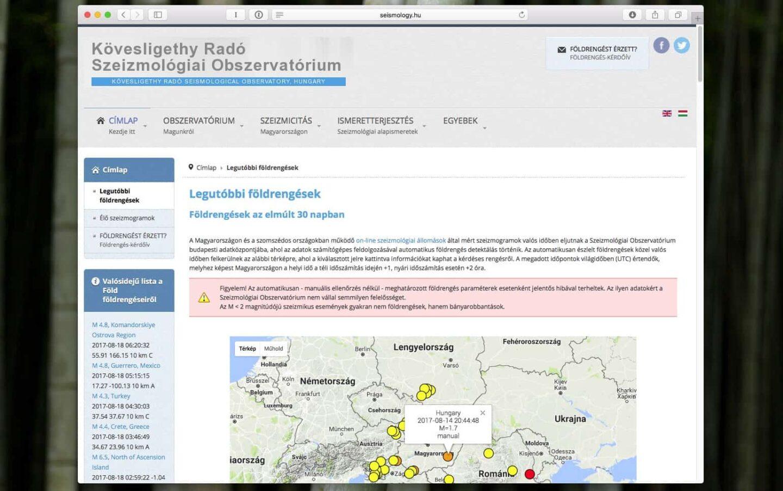 Földrengéseket figyelő weboldalak gyűjteménye | Techwok.hu