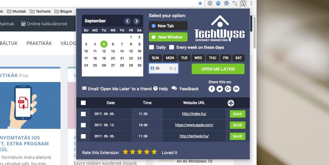 Weboldalak időzített megnyitása, adott napon és időpontban   Techwok.hu