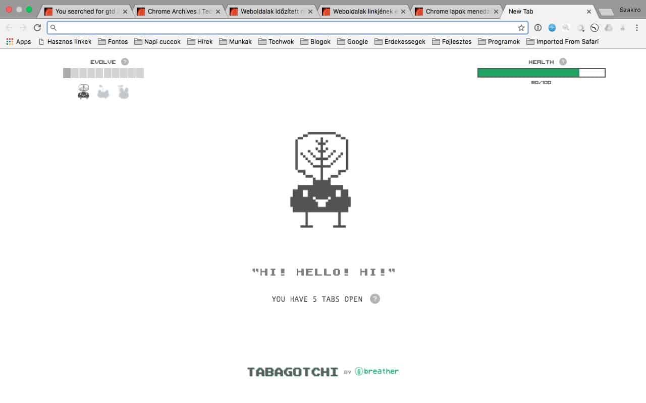 Chrome Tabagotchi: a túl sok megnyitott weblap ellenszere   Techwok.hu